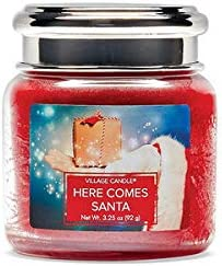 Village Candle Here Comes Santa Petite Glass Apothecary Jar Scented Candle 3 25 Oz Red Home Kitchen