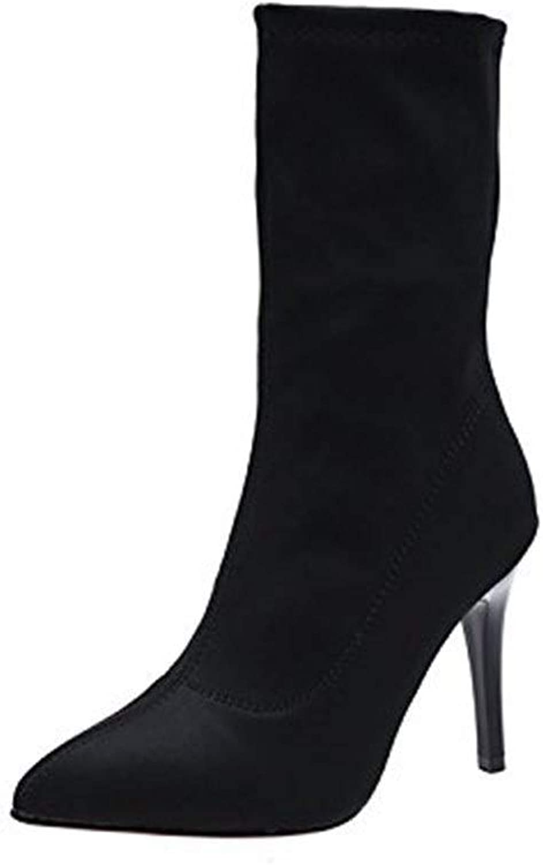BIXIANGJI Kurze Stiefel Damen Spitzen Zehen Stckelabsatz Stretch Stiefelies Damen Freizeitstiefel