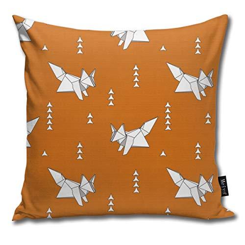 Origami Fox Russet - Funda de cojín decorativa de madera para cama o sofá