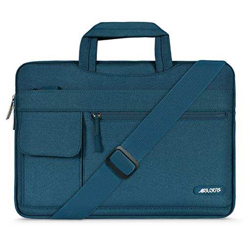 MOSISO Laptop Shoulder Bag Compatible with 13-13.3 inch MacBook Pro, MacBook Air, Notebook Computer, Polyester Flapover Briefcase Sleeve Case, Deep Teal