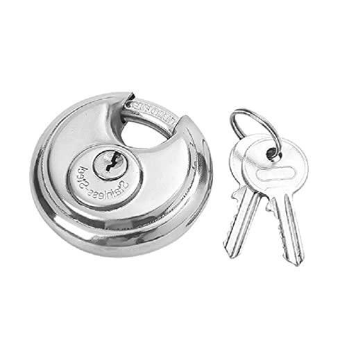 Guanweun Candado redondo con apertura horizontal, acero inoxidable, antirrobo, grillete de acero endurecido con 2 llaves, candados redondos con las mismas llaves para almacenamiento