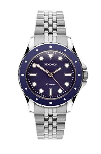 Sekonda Reloj analógico de cuarzo para mujer con esfera azul y pulsera de acero inoxidable 40016