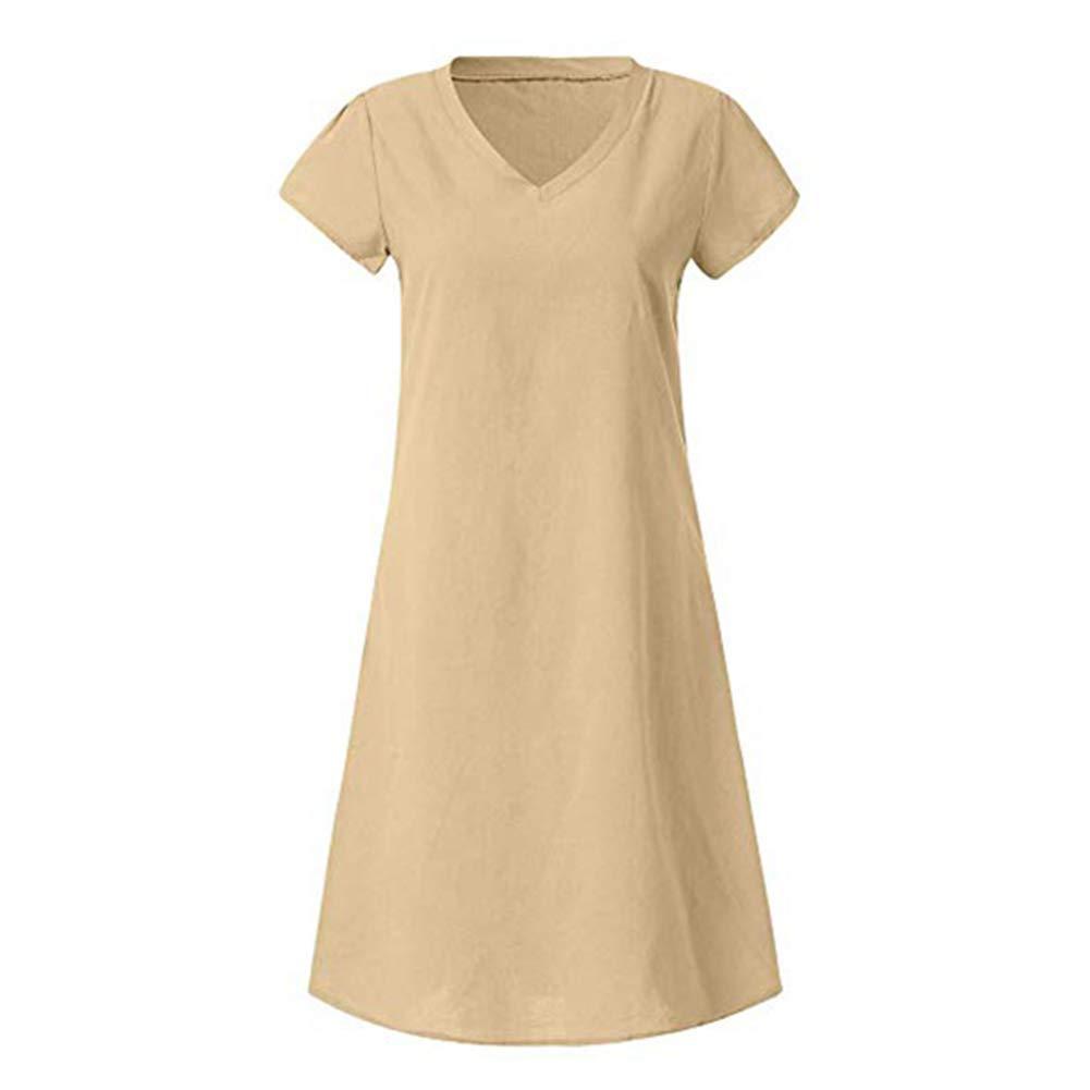 Vaugan 1Ud. Mujer Estilo de Verano Algodón Lino Vestido Casual Manga Corta Cuello Pico Color Sólido Vestido: Amazon.es: Hogar