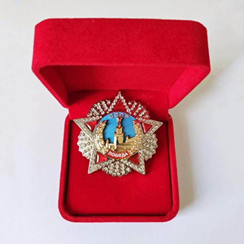 ZHAQU WW2 Large Soviet Victory Honor Medal WWII USSR Russian Bagde CCCP Award Order Victory Pins Inlay Diamond Enamel Medal Gifts