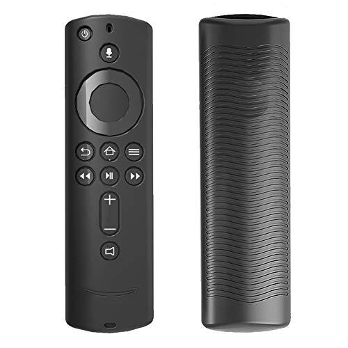 HilMe - Cover per telecomando Fire TV Stick 4K, in silicone, antiscivolo, leggera, antiurto, per Fire TV (terza generazione), Non null, Nero , Taglia libera
