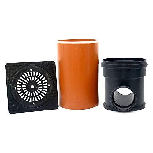 KG Kontrollschacht Revisionsschacht Abwasserschacht Schacht DN315, Rohr, Deckel quadratisch Regen, Komplett SET