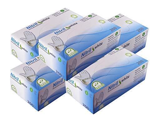 Einmalhandschuhe Puderfrei Nitril Einweghandschuhe Medi-Inn Big Box Fabauswahl(weiß,S (6-7),1000 Stück)