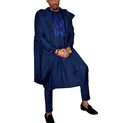 HD African Clothing Embroidery Agbada Robe Dashiki Shirt Mens Boubous Outfits 3 Pieces 2XL Blue