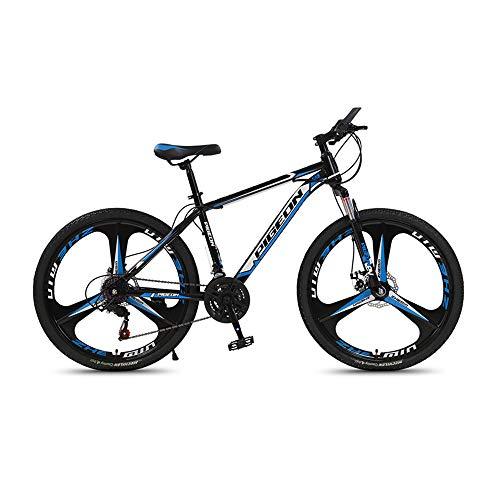 Bicicleta, Bicicleta de montaña con amortiguador de freno de disco doble, Bicicleta de 26 pulgadas, Para adultos y adolescentes, Se adapta a varios terrenos, Cuadro de acero de alto carbono/C