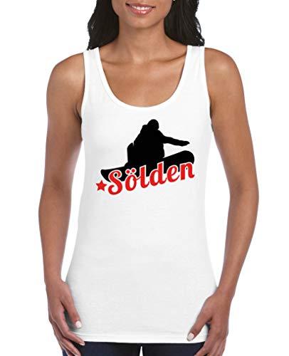 Comedy Shirts - Soelden Snowboard - Damen Tank Top - Weiss/Schwarz-Rot Gr. S