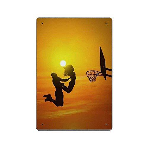 SIGNSHM Basketball-Blechschild mit Sonnenuntergang Kobe Bryant und His Daughter, Retro-Blechschild, Plakat, Wanddekoration, Kunst, Shabby Chic, Geschenk, geeignet 30,5 x 20,3 cm