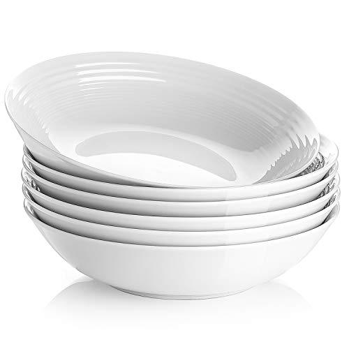 Y YHY Salatschüssel Porzellan 940ml, Pastaschale Keramik, Obstschale für Pasta, Spaghetti, Salat, Müsli usw. 6er-Set, Weiß