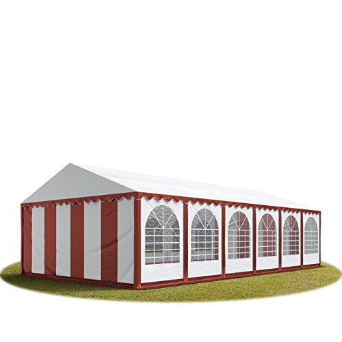 Festzelt XXL Partyzelt 6x12m, hochwertige 550g/m² feuersichere PVC Plane nach DIN in rot-weiß, 100% wasserdicht, vollverzinkte Stahlkonstruktion mit Verbolzung, Seitenhöhe ca. 2,6 m