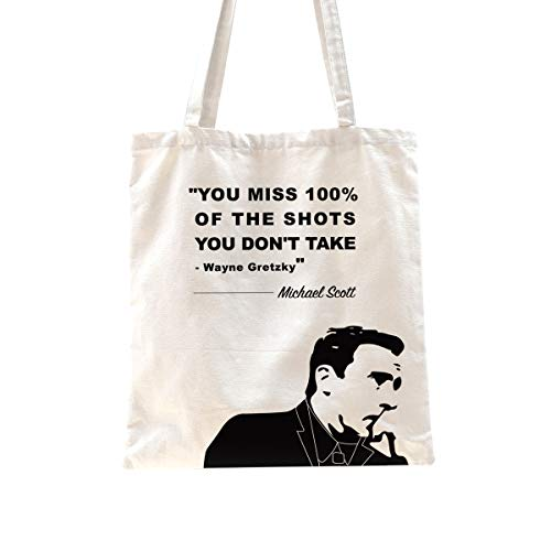 Ihopes Michael Scott Inspirational Motivational Quotes Reusable Tote Bag | You Miss 100% of The Shots 12 Oz Cotton Canvas Tote Bag | Perfect The Office TV Show Gifts