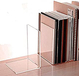 Elegant Creations 4 Pack Bookends,Clear Acrylic Bookends for Shelves,Heavy Duty Book Ends and Desktop Organizer, Book Stop...