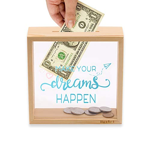 Piggy Banks for Adults, Decorative Shadow Box Wooden Frame, Coin Bank Money Bank, Sized 6.5x6.5x2.2 Inch, Natural Wood Money Box, Printed on The Plexiglass Front-Make Your Dreams Happen.