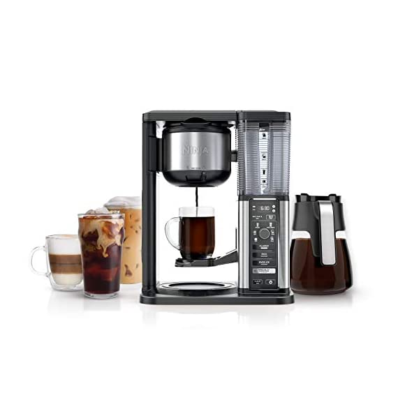 Ninja specialty fold-away frother (cm407) coffee maker, single serve to 10 cup (50 oz. ) 1 specialty brew: brew super rich coffee concentrate that you can use to create delicious lattes, macchiato, cappuccinos, and other coffeehouse style drinks iced coffee: brew fresh over ice for flavorful iced coffee that's never watered down 6 brew sizes: brew anything from a single cup or travel size to a half carafe or a full carafe in your coffee maker