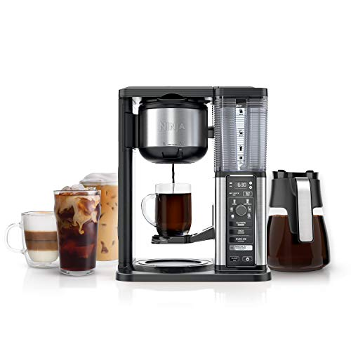 Ninja Specialty Fold-Away Frother (CM401) Coffee Maker, Single Serve to 10 Cup (50 oz.), Glass Carafe