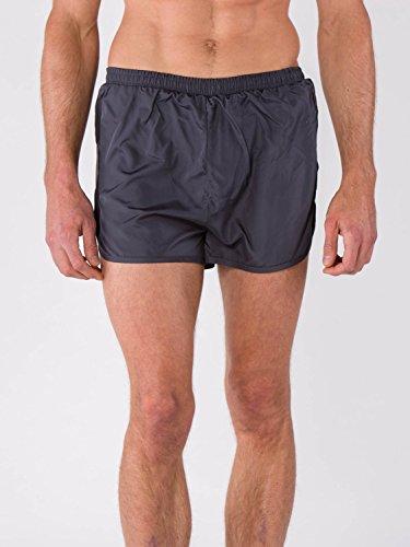 BODYCROSS Short Court de Running Homme Milan Gris avec Slip Intégré - Polyster - Ceinture Élastique avec Lacet de Resserage, Petite Poche Clés Intérieur sur Ceinture