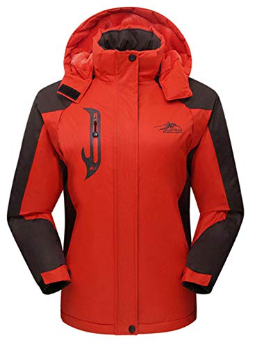 CORAFRITZ Damen Wasserdicht Skijacke Outdoor Winddicht Fleece Regenjacke Gr. 52, Orange