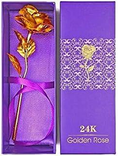 وردة مطلية بالذهب عيار 24 قيراط بلون ذهبي وردي لهدية عيد الحب وهدية الكريسماس - وردة كبيرة مع صندوق هدايا