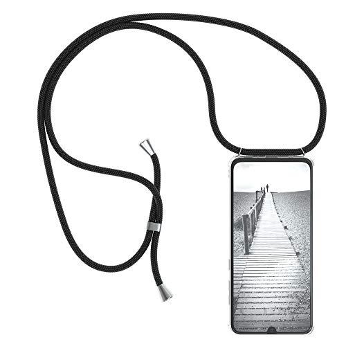 EAZY CASE Handykette kompatibel mit Samsung Galaxy A70 Handyhülle mit Umhängeband, Handykordel mit Schutzhülle, Silikonhülle, Hülle mit Band, Stylische Kette mit Hülle für Smartphone, Schwarz