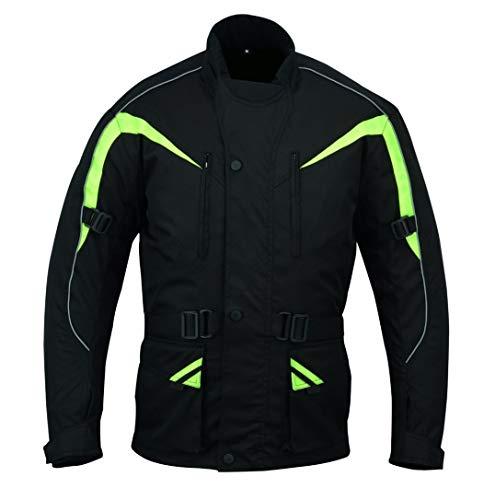 Warrior Gears - Giacca da moto da uomo Pro Arc 10000 Cordura tessuto 3M Scotchlite CE blindata   impermeabile   giacche antivento Nero - verde XXXXXXL