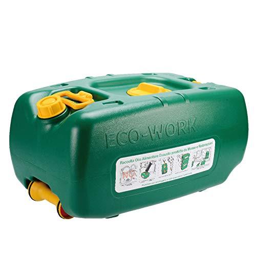 Eco-Work 36LT Tanica Verde per Il Recupero e contenimento dell'olio vegetale esausto da frittura Prodotto da Mense industriali e ristorazioni impilabile, ruotino Maniglia e Trolley, plastica