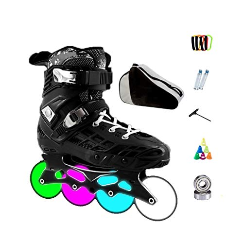 Affordable Sljj Outdoor Indoors Adult Fitness Illuminating Black Inline Speed Skates, Fun Flashing B...