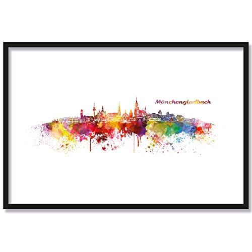 JUNIWORDS Poster mit/ohne Holzrahmen, Wähle ein Motiv, Aquarell Skyline Mönchengladbach, Wähle eine Größe, 40 x 60 cm (L) mit Rahmen in Natur