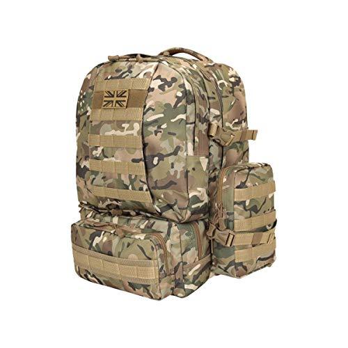 Kombat UK Expedition Rucksacks For Men Women Large 50L, Army Airsoft Tactical Assault Molle Sholder Bag for Survival, Travel, Hunting, Hiking, Fishing, Gym, School, Cadets Backpack (BTP)