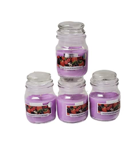 Wickford & Co Scented Candle Jars Luxury Fragranced for Home Pack of 4 Candles (4X Sweet Berries & Honey Blossom)