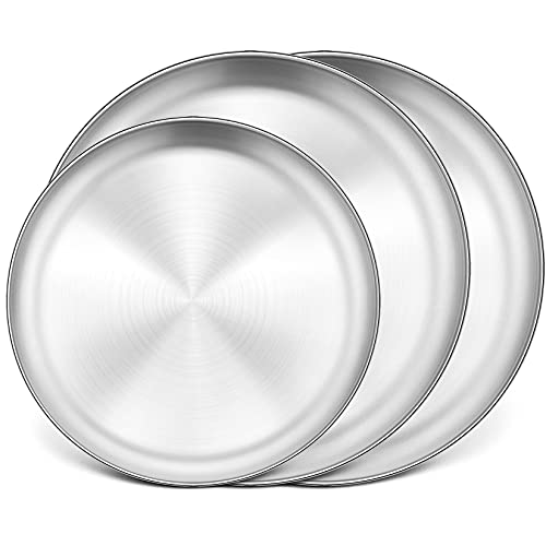 Pizza Pans Set of 3(12''& 2x13.5''), P&P CHEF Stainless Steel Baking Pizza Pan Tray, Round Pizza Plate For Pie Cookie Pizza Cake, Healthy & Heavy Duty, Rust Free & Dishwasher Safe