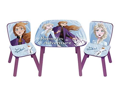 Familie24 3tlg. Holz Frozen Kindersitzgruppe Tisch + 2X Stuhl Sitzgruppe Kindertisch Die Eiskönigin Anna ELSA Olaf