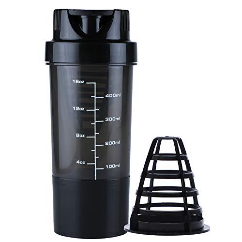 Haans ShakeMe Protein Shaker Sports Bottle 500 ml (Black)