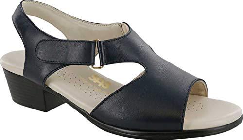 SAS Women's Suntimer Heeled Sandal Navy Leather 7.5 WW