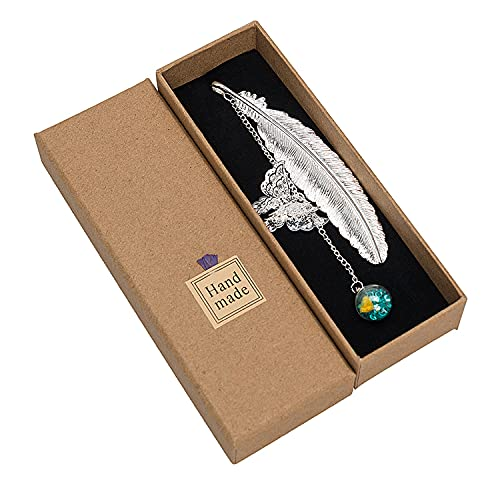 Renaelelife Metal Feather Bookmarks, Vintage Book Marks with 3D Butterfly and Dried Flower Glass Bead Pendant, Wrap Cute with Gift Box, Gifts for Book Lovers Women Men Kids (Silver)