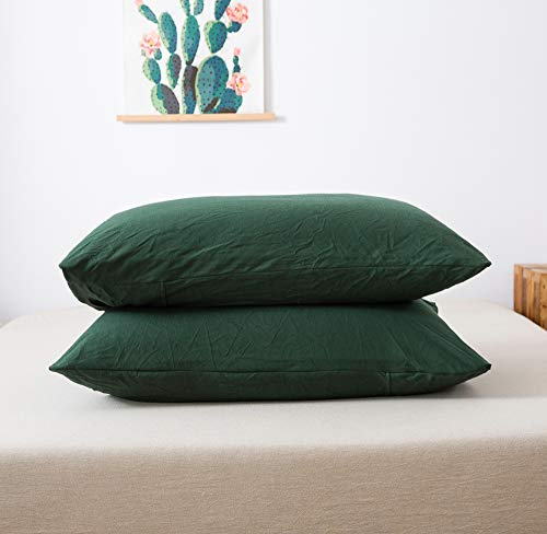 """Household 100% Jersey Cotton Queen Size Pillowcase 20""""x30""""-Light Weight, Comfortable, Extremely Durable Set of 2 (Dark Green, Standard Pillowcases)"""