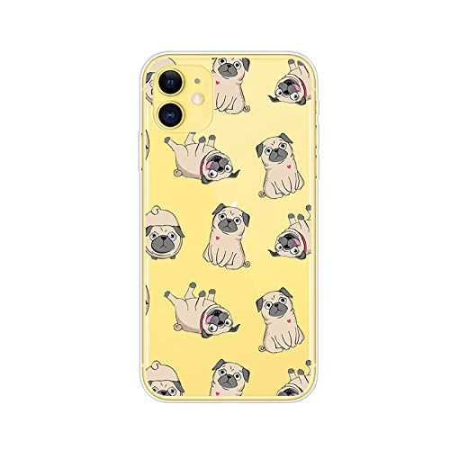 iPhone 11 (6.1 inch) Case,Blingy's Funny Animal Style Transparent Clear Soft TPU Protective Case Compatible for iPhone 11 6.1' 2019 Release (Pug Style)