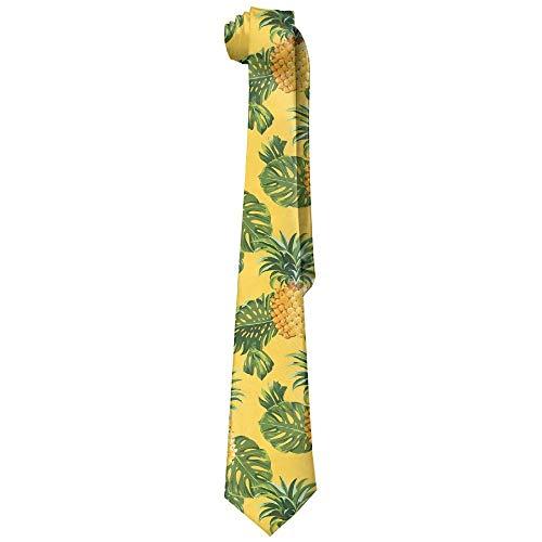 LREFON Corbata de hombre Corbata con estampado de piñas y hojas tropicales Regalos