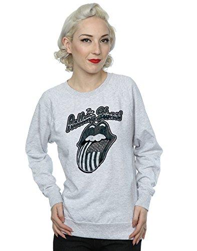 Rolling Stones Mujer Monochrome American Tongue Camisa De Entrenamiento Small Cuero Gris
