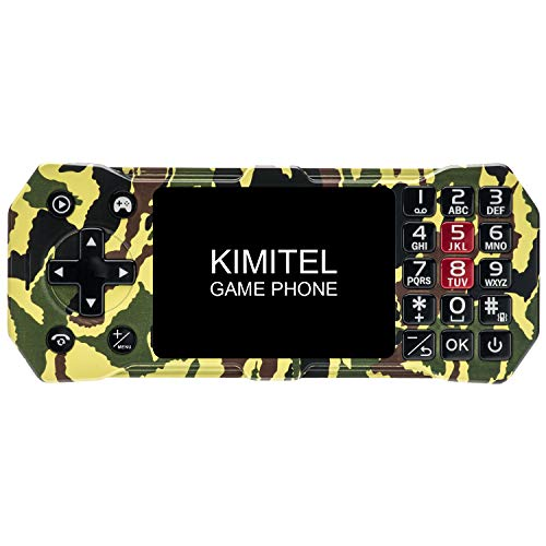 Kimitel Juego de 2.8 Pulgadas y teléfono 2 en uno con 3 Tarjetas SIM inalámbrica Radio FM de Gran Capacidad con batería de 2500mAh y 100 Juegos (Camuflaje)