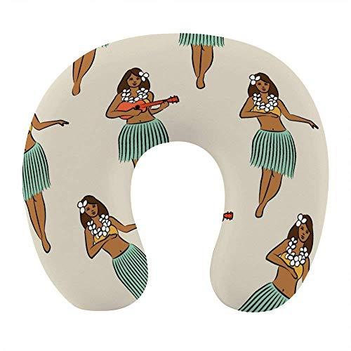 Almohada para el Cuello de niña Hula Hawaiana cómoda y Transpirable, Almohada de Viaje en Forma de U de Espuma viscoelástica Suave para avión, Oficina en casa, Coche