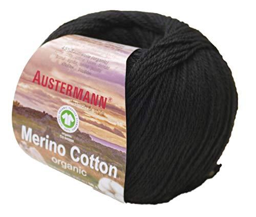 austermann Merino Cotton Organic, schwarz 02, Biowolle zum Stricken und Häkeln, Wolle GOTS Zertifiziert