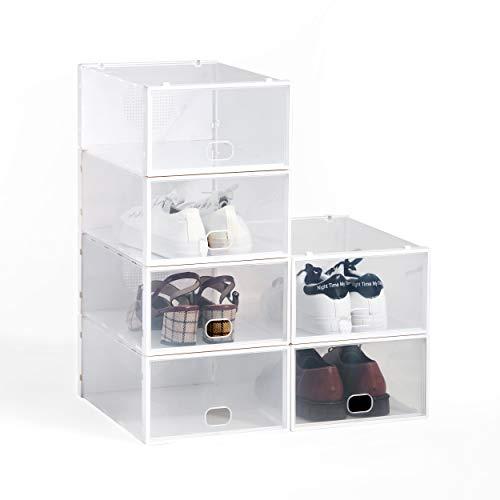 Hododou Stackable Shoe Box, Upgraded Version 6pcs Shoe Box Clear Shoe Storage Box Ladies Men Plastic Shoe Organiser Box 34x23x13cm (White)