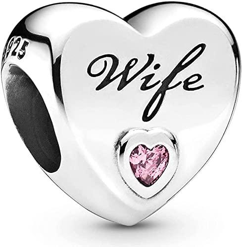 NINGAN Ehefrau Charme-Charms-Anhänger 925 Sterling Silber Charm Bead für Chamilia und europäische Armbänder und Halsketten