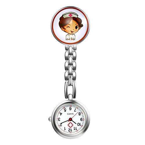 LANCARDO Reloj de Bolsillo Médico Colgante de Enfermera Prendedor Broche Cuarzo Original Multicolor con Clip Uniforme Paramédico Regalo Gracias Doctor Mujer Chica Niña