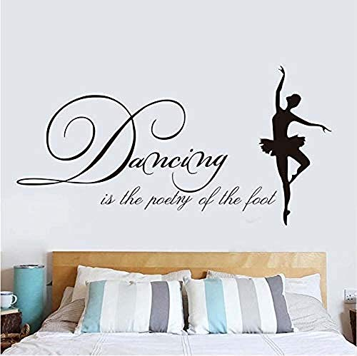 Wall Stickers,Dancing is The Poetry of The Foot Vinyl Art Wall Decals Modern Ballet Living Room Hot Sale Ballerina Wall Stickers Self Adhesive 114 * 58cm