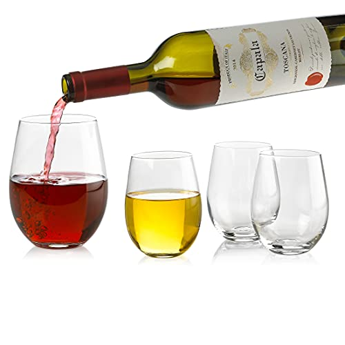 Set of 4 Classic Wine Stemless Glasses (18 Ounce) - Toasting Sparkling Wine/Wedding Flutes