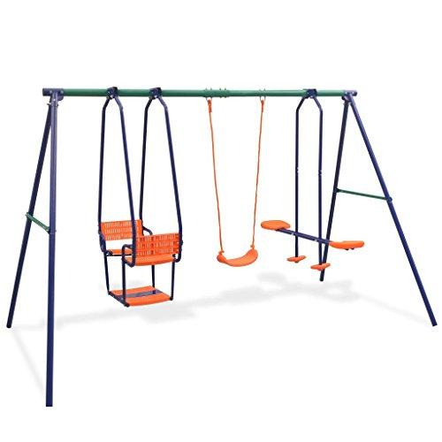 Tidyard Schaukelgestell Metall Kinderschaukel Outdoor Doppelschaukel Garten Schaukelgerüst Gartenschaukel Kinder Schaukelset Kinderspielplatz Belastbar bis 145 kg